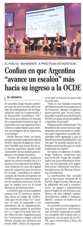 """Confían en que Argentina """"avance un escalón"""" más hacia su ingreso a la OCDE"""